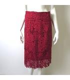 エストネーション ESTNATION スカート 花柄 刺繍 カットワーク ミモレ 38 M 赤 レッド