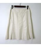 ナチュラルビューティーベーシック NATURAL BEAUTY BASIC スカート Aラインスカート フレア レース 切替 コットン M アイボリー 美品