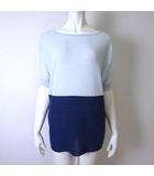 ストロベリーフィールズ STRAWBERRY-FIELDS カットソー プルオーバー サマーニット ハーフスリーブ 半袖 配色 L 青 水色