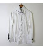 パーフェクトスーツファクトリー P.S.FA シャツ 長袖 ドビー ストライプ ボタンダウン 二枚襟 チェック 切り替え S 白 ホワイト 黒
