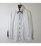 パーフェクトスーツファクトリー P.S.FA シャツ 長袖 格子柄 ボタンダウン 二枚襟 チェック ストライプ 切り替え S 白 ホワイト 黒