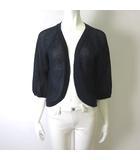 スイヴィ SUIVI カーディガン ニット トッパー 羽織り 透かし編み 7分袖 5 XL 紺 ネイビー 大きいサイズ