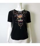 ピンクハウス PINK HOUSE Tシャツ カットソー 半袖 リボン 花柄 S 黒 ブラック