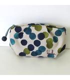 シビラ SYBILLA ポーチ 小物入れ ロゴ 刺繍 水玉 ドット ナイロン ベージュ 青 緑 かばん 鞄 カバン 美品
