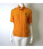 カステルバジャック CASTELBAJAC ポロシャツ 半袖 ボタンダウン ロゴ キャラクター 刺繍 鹿の子 比翼ボタン M オレンジ