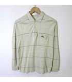 レノマ renoma UP ポロシャツ 長袖 ロゴ 刺繍 ポケット 格子柄 M ベージュ ブラウン 白 紳士 薄手 春夏