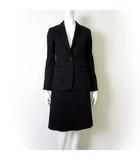 エル ELLE スカートスーツ 上下 セットアップ M-L 38 40 黒 ブラック 1B ジャケット 膝丈 スカート フォーマル ビジネス