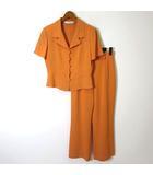 ミスクロエ miss chloe パンツスーツ 上下セットアップ 半袖 ジャケット ロングパンツ ワイド M 40 オレンジ 国内正規品