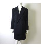 ラルフローレン RALPH LAUREN スカートスーツ 上下セットアップ ダブル 長袖 ジャケット ひざ丈 スカート 11 L 紺 ネイビー 国内正規品