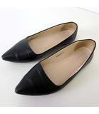 ランダ RANDA CAMILLE BIS フラットシューズ スリッポン ポインテッドトゥ レザー 25.0 黒 ブラック くつ 靴 シューズ 大きいサイズ