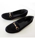 ランダ RANDA ローファー パンプス スリッポン スエード LL 25.0 黒 ブラック くつ 靴 シューズ 大きいサイズ ビッグサイズ