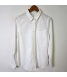 ディスコート Discoat シャツ ブラウス 長袖 後ろタック コットン M 白 ホワイト