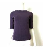 マカフィー MACPHEE トゥモローランド カットソー Tシャツ 半袖 ハーフスリーブ 5分袖 ボートネック S ダークパープル 濃い紫