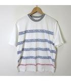 アーノルドパーマー Arnold Palmer Tシャツ 半袖 コットン ロゴ 総柄 M 白 ホワイト グレー 青 赤 タグ付 美品