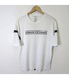 アルマーニエクスチェンジ A/X ARMANI EXCHANGE Tシャツ 半袖 ロゴ プリント コットン L 白 ホワイト 黒 ブラック