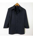 イネド INED シャツ ブラウス 7分袖 比翼 ボタン 美ライン ストレッチ M 黒 ブラック