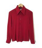ドルチェ&ガッバーナ ドルガバ DOLCE&GABBANA シャツ 長袖 シルク ストレッチ S-M 赤 レッド イタリア製 国内正規品
