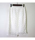 マーキュリーデュオ MERCURYDUO スカート タイトスカート ミモレ丈 カットワーク 裾 アシンメトリー S 白 ホワイト 美品