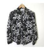 アズールバイマウジー AZUL by moussy シャツ 長袖 アロハシャツ 花柄 ハイビスカス コットン M 黒 ブラック 白 ホワイト