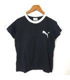 プーマ PUMA Tシャツ カットソー 半袖 ロゴ イラスト 配色 コットン S 紺 ネイビー 白 ホワイト