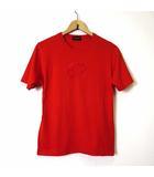 グッチ GUCCI Tシャツ カットソー 半袖 GG ロゴ 刺繍 S 赤 レッド イタリア製