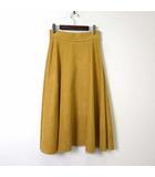 ボールジー BALLSEY トゥモローランド スカート ロングスカート フレア スエード フェイクレザー M 38 マスタードイエロー 黄色