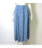 バーバリー BURBERRY スカート ロングスカート マキシ 前ボタン シルク100% 絹 フレア ロゴボタン ギャザー 9 M くすみ ブルー 国内正規品