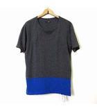 カシュカ CASHCA Tシャツ カットソー 半袖 ドッキング バイカラー 麻 リネン混 M チャコールグレー 青 ブルー