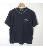 ランバン スポーツ LANVIN SPORT Tシャツ 半袖 ロゴ プリント Vネック コットン 48 M 紺 ネイビー グレー