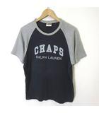チャップス CHAPS ラルフローレン Tシャツ 半袖ロゴ プリント コットン M 紺 ネイビー グレー 国内正規品