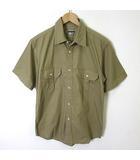 プラスワン PLUS ONE シャツ ミリタリーシャツ 半袖 コットン L カーキ ベージュ