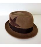 エム M THANK YOU FRIENDS ハット 帽子 中折れ帽 フェルト ウール 星 スター 59cm モカブラウン 茶色 ボウシ ぼうし
