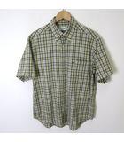 クロコダイル CROCODILE シャツ 半袖 チェック ボタンダウン ロゴ 刺繍 ポケット付 コットン M 緑 黄