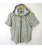 ピーピーエフエム PPFM パーカー シャツ 半袖 チェック ジップアップ フード リネン コットン M 白 グレー 黄 水色 薄手
