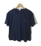 トラサルディ TRUSSARDI Tシャツ 半袖 ヘンリーネック ロゴ 刺繍 チェック 切り替え LL 紺 ネイビー 国内正規品 大きいサイズ