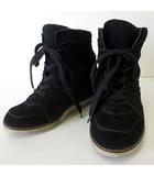 ジェフリーキャンベル Jeffrey Campbell スニーカー インヒール シューズ ブーツ 本革 スエード レザー 38 黒 ブラック 24.0cm くつ 靴 ブーツ