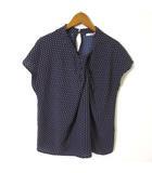 グラシア GLACIER カットソー フレンチ 半袖 総柄 胸元 ギャザー ノスタルジック M 紺 ネイビー マルチカラー 美品