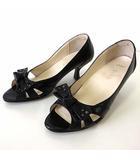 アシックス asics GIRO ジーロ パンプス ウォーキングパンプス オープントゥ リボン レザー 幅広 22.0 EE 黒 ブラック くつ 靴 シューズ ビジネス