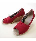 トムス TOMS パンプス ウエッジソール ウエッジパンプス オープントゥ キャンバス 25.5 赤 レッド 大きいサイズ くつ 靴 シューズ