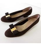 サルヴァトーレフェラガモ Salvatore Ferragamo パンプス ヴァラ リボン 本革 スエード レザー 6 C モカブラウン こげ茶色 くつ 靴 シューズ