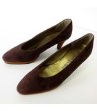 イヴサンローラン YVES SAINT LAURENT パンプス 本革 スエード レザー バイカラー 35.5 ダークブラウン こげ茶色 ブラウン YSL くつ 靴 シューズ