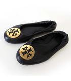 トリーバーチ TORY BURCH バレエシューズ フラットシューズ 本革 レザー ロゴ 8 C 黒 ブラック ゴールド くつ 靴 シューズ 大きいサイズ