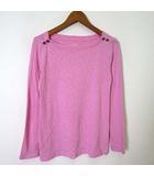 ジェイクルー J.CREW カットソー Tシャツ ロンT 長袖 肩ゴールドボタン ラウンドネック XS 杢 ピンク 小さいサイズ