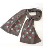ヒロコビス HIROKO BIS サマーストール ショール マフラー シフォン スパンコール 装飾 刺繍 グレー モカ 赤 シルバー