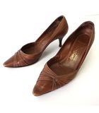 サルヴァトーレフェラガモ Salvatore Ferragamo パンプス ヒールパンプス 本革 レザー ポインテッドトゥ 8 D 茶色 ブラウン 25.0cm くつ 靴 シューズ 大きいサイズ