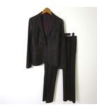 インタープラネット INTERPLANET スーツ 上下セットアップ パンツ ジャケット ブレザー テーラード 長袖 センタープレス 光沢 ウール 38 M 茶 ダークブラウン 美品