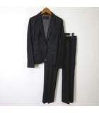 インタープラネット INTERPLANET スーツ 上下セットアップ パンツ ジャケット ブレザー テーラード 長袖 センタープレス 光沢 ウール S 黒 ブラック 美品