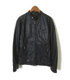 アズールバイマウジー AZUL by moussy ジャケット ライダースジャケット フェイクレザー 裏カモフラ柄 ダブルジップアップ 長袖 S 黒 ブラック
