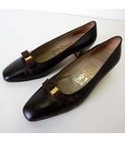 サルヴァトーレフェラガモ Salvatore Ferragamo パンプス ヴァラ リボン 本革 レザー 5 D ダークブラウン こげ茶色 22.5cm くつ 靴 シューズ
