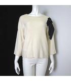 ハウピア haupia ニット セーター 7分袖 肩 リボン ウール フレア バックボタン 38 M オフ白 ホワイト 黒